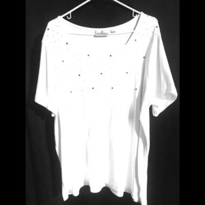 White rhinestone shirt XL